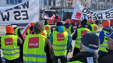 Warnstreiks im privaten Omnibusgewerbe am 05.02.2019 in Reutlingen