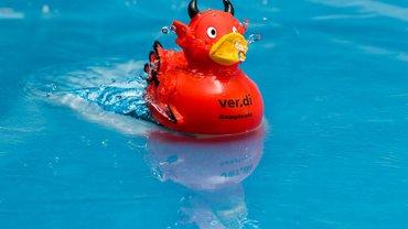 Eine rote Kampfente mit dem Aufdruck ver.di Kampfente schwimmt auf dem Wasser.