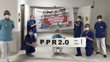 Bundesweit protestieren Krankenhausbeschäftigte heute, am 12. April 2021 für bedarfsgerechte Personalvorgaben